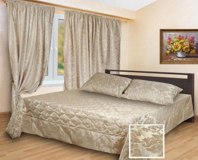 Комплект шторы и покрывало для спальни фото