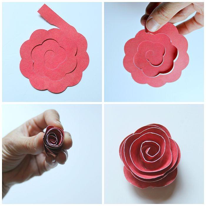 Как сделать розочки из бумаги для открытки